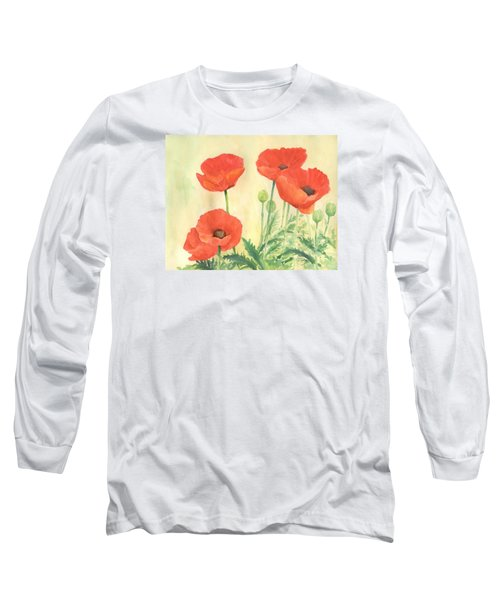 Red Poppies 3 Colorful Watercolor Poppy Floral Original Art Flowers Garden Artist K. Joann Russell Long Sleeve T-Shirt