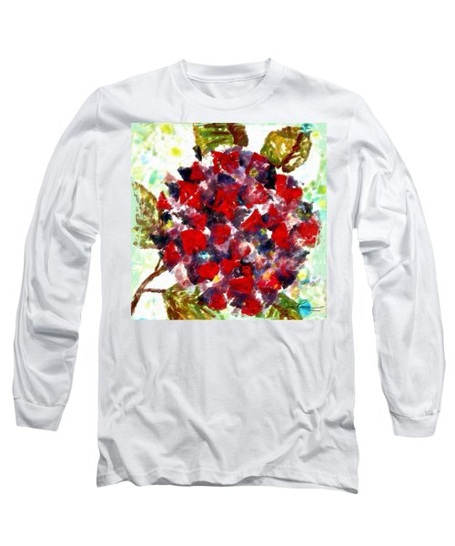 Long Sleeve T-Shirt featuring the painting Red Purple Flower by Joan Reese