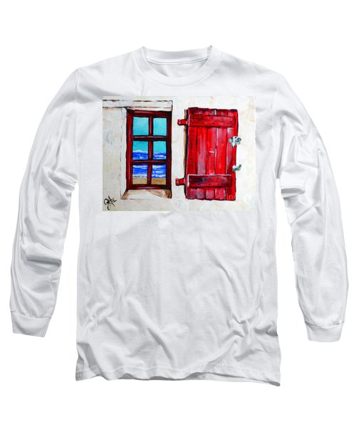 Red Shutter Ocean Long Sleeve T-Shirt by Jackie Carpenter