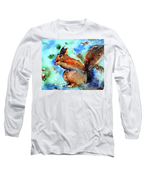 Long Sleeve T-Shirt featuring the painting Red Squirrel  by Trudi Doyle