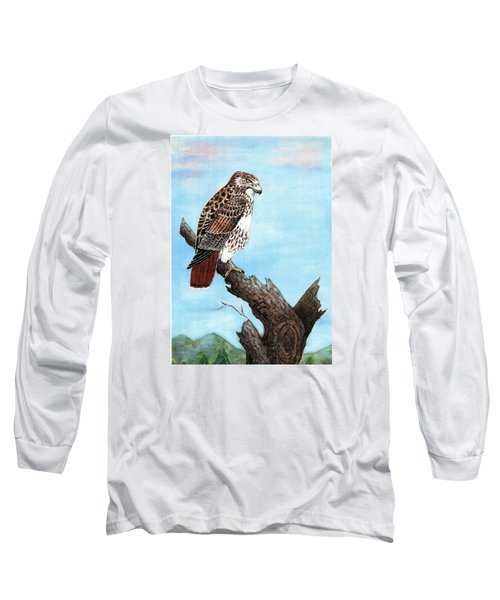 Long Sleeve T-Shirt featuring the painting Red Tailed Hawk by VLee Watson