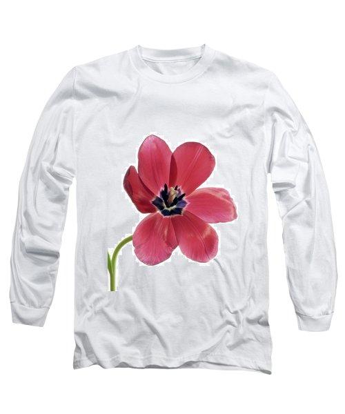 Red Transparent Tulip Long Sleeve T-Shirt