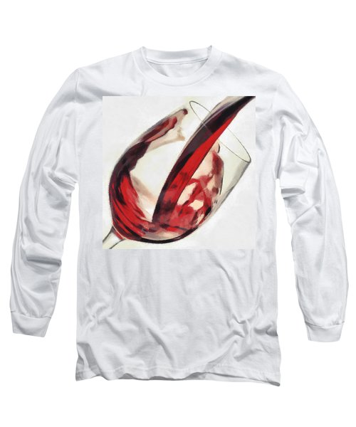 Red Wine  Into Wineglass Splash Long Sleeve T-Shirt by Georgi Dimitrov