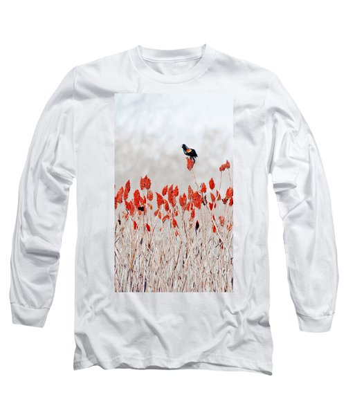 Red Winged Blackbird On Sumac Long Sleeve T-Shirt