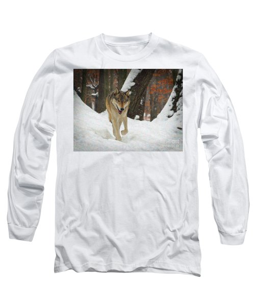 Long Sleeve T-Shirt featuring the digital art Red Wolf On A Winter Hunt by Lianne Schneider