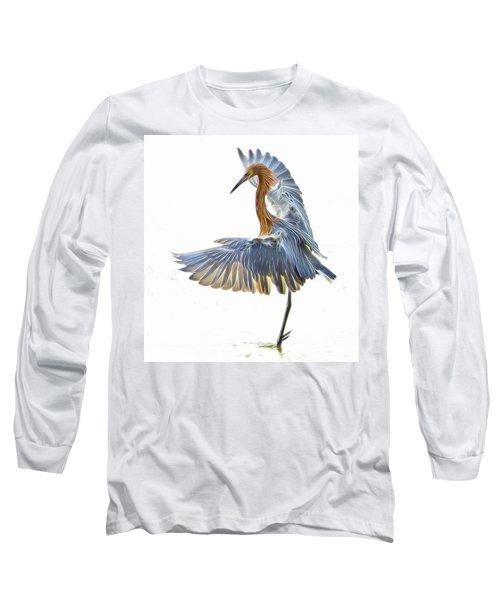 Reddish Egret 1 Long Sleeve T-Shirt by William Horden