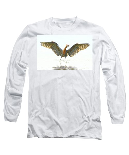 Reddish Egret 2 Long Sleeve T-Shirt by William Horden