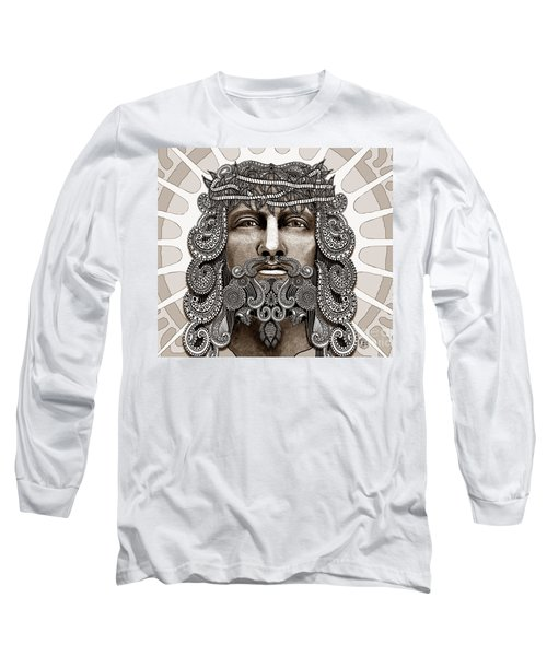 Redeemer - Modern Jesus Iconography - Copyrighted Long Sleeve T-Shirt by Christopher Beikmann
