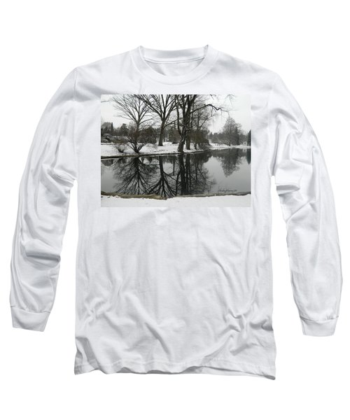 Long Sleeve T-Shirt featuring the photograph Reflection Pond Spring Grove Cemetery by Kathy Barney