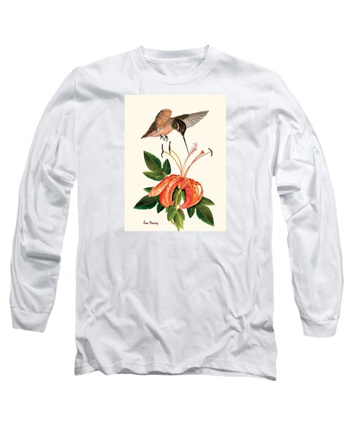 Refueling In Flight Long Sleeve T-Shirt by Anne Beverley-Stamps