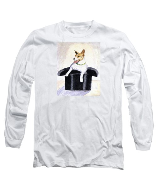Long Sleeve T-Shirt featuring the painting Reggie In A Top Hat  by Angela Davies