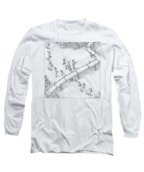 Reindeer In A Conga Line Do The Limbo Long Sleeve T-Shirt
