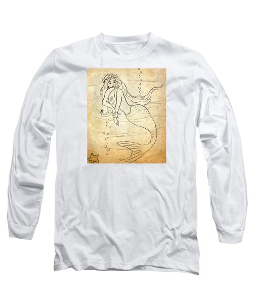 Long Sleeve T-Shirt featuring the drawing Retro Mermaid by Rosalie Scanlon