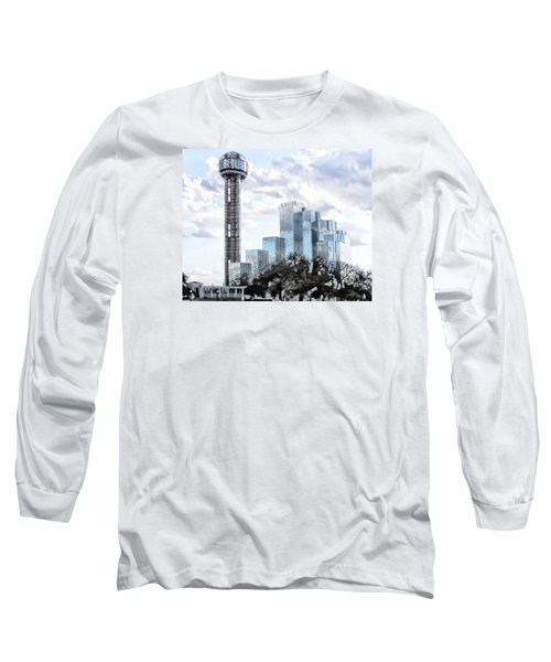 Long Sleeve T-Shirt featuring the photograph Reunion Tower Dallas Texas by Kathy Churchman