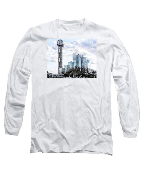 Reunion Tower Dallas Texas Long Sleeve T-Shirt by Kathy Churchman