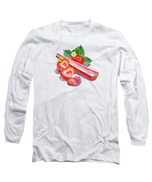 Rhubarb Strawberry Long Sleeve T-Shirt by Irina Sztukowski