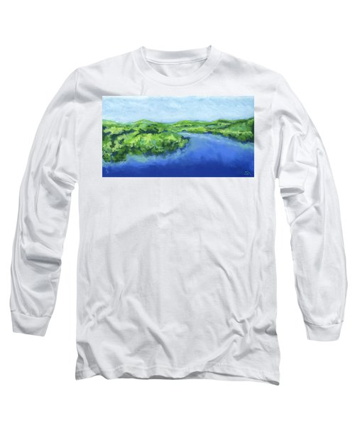 Long Sleeve T-Shirt featuring the painting River Bend by Stephen Anderson