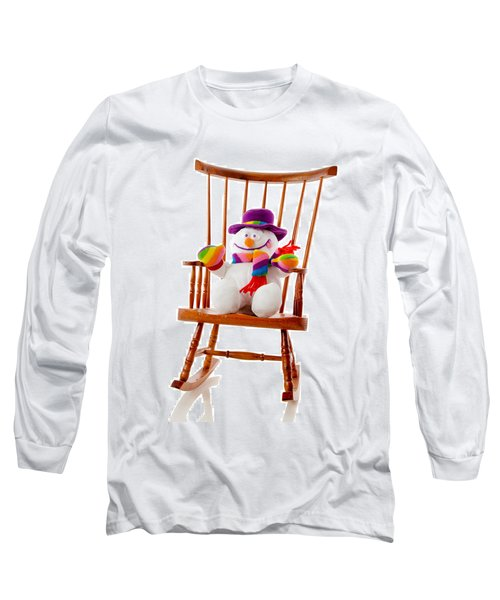 Long Sleeve T-Shirt featuring the photograph Happy Snowman Sitting In A Rocking Chair  by Vizual Studio