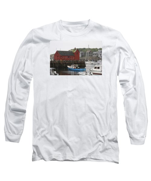 Rockport Inner Harbor With Lobster Fleet And Motif No.1 Long Sleeve T-Shirt