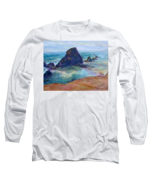 Rocks Heading North - Scenic Landscape Seascape Painting Long Sleeve T-Shirt