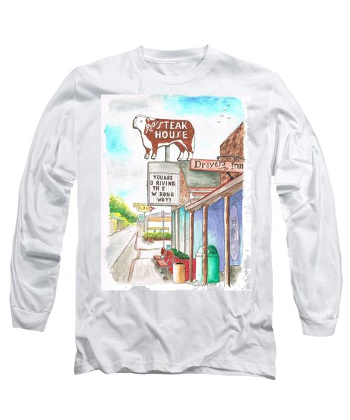 Rod's Steak House In Route 66 - Williams - Arizona Long Sleeve T-Shirt by Carlos G Groppa