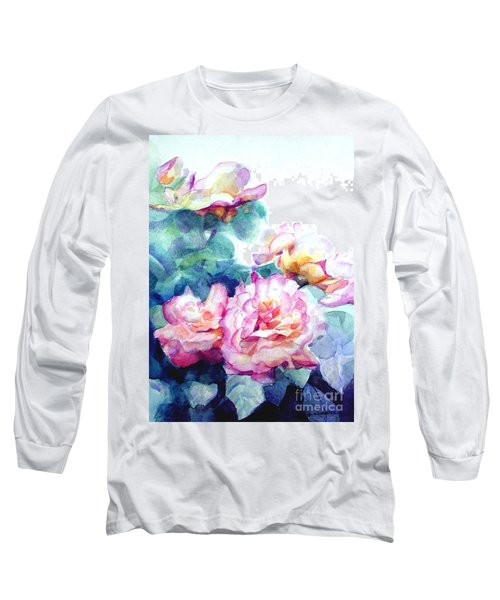 Long Sleeve T-Shirt featuring the painting Pink Rose Bush by Greta Corens