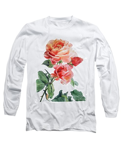 Watercolor Of Red Roses On A Stem I Call Rose Maurice Corens Long Sleeve T-Shirt