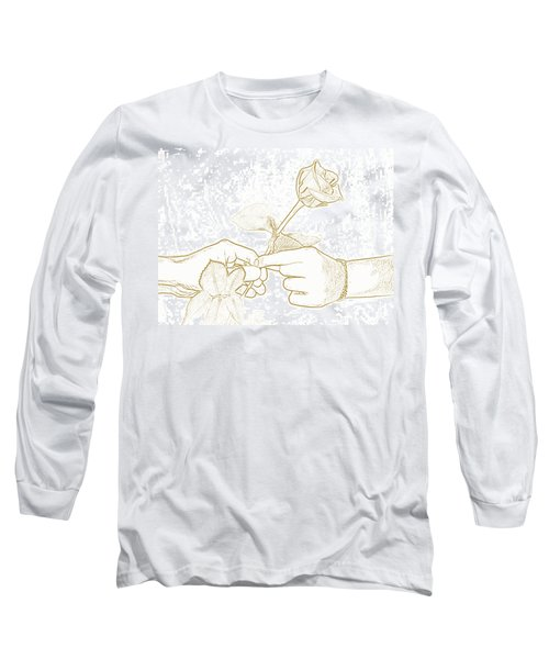 Rose Outline By Jan Marvin Studios Long Sleeve T-Shirt