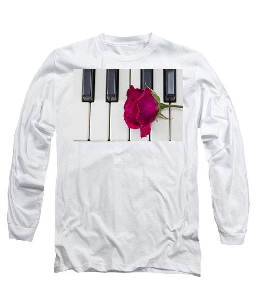 Rose Over Piano Keys Long Sleeve T-Shirt