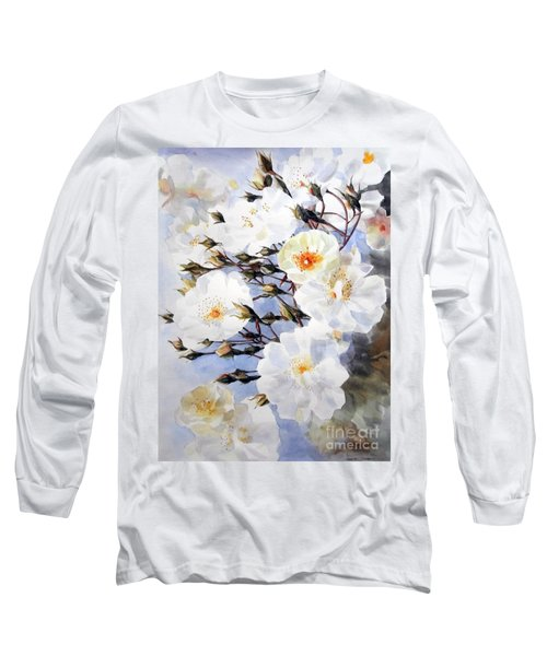 Rose Tchaikowsky A Stem Of White Roses And Buds Long Sleeve T-Shirt by Greta Corens