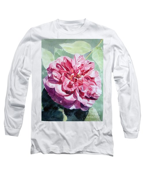 Pink Rose Van Gogh Long Sleeve T-Shirt by Greta Corens