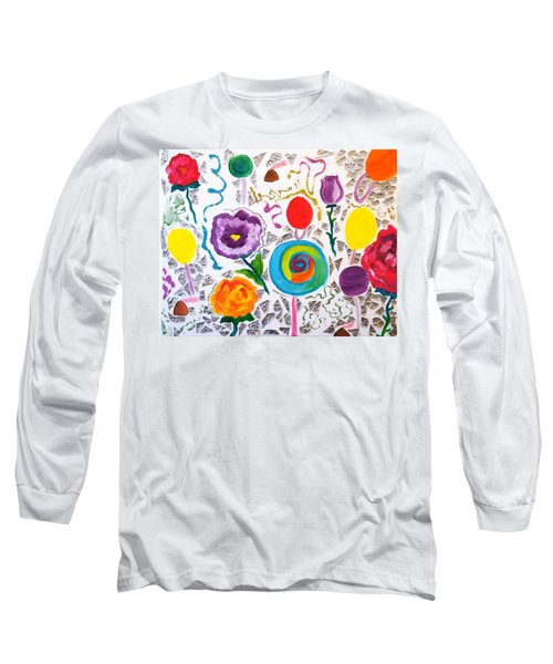 Roses And Lollipops For Mom Long Sleeve T-Shirt by Meryl Goudey