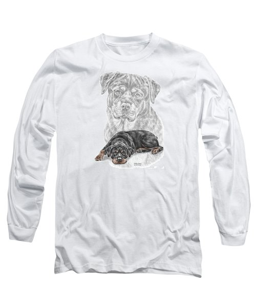 Rottie Charm - Rottweiler Dog Print With Color Long Sleeve T-Shirt