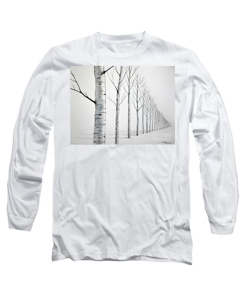 Row Of Birch Trees In The Snow Long Sleeve T-Shirt
