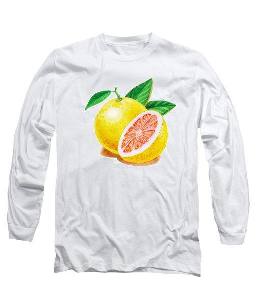 Ruby Red Grapefruit Long Sleeve T-Shirt by Irina Sztukowski