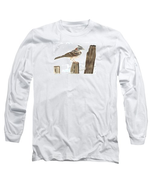Rufous-collared Sparrow Long Sleeve T-Shirt by Cindy Hitchcock