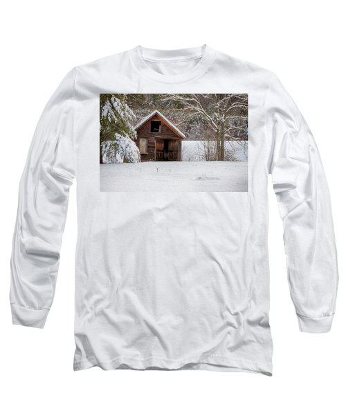 Rustic Shack In Snow Long Sleeve T-Shirt