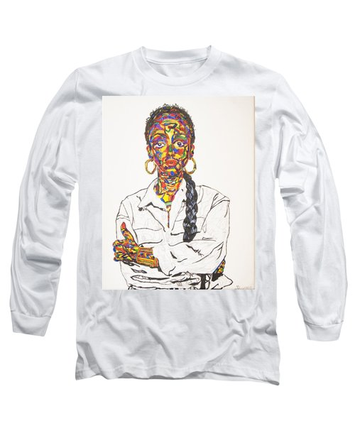 Long Sleeve T-Shirt featuring the painting Abstract Sade  by Stormm Bradshaw