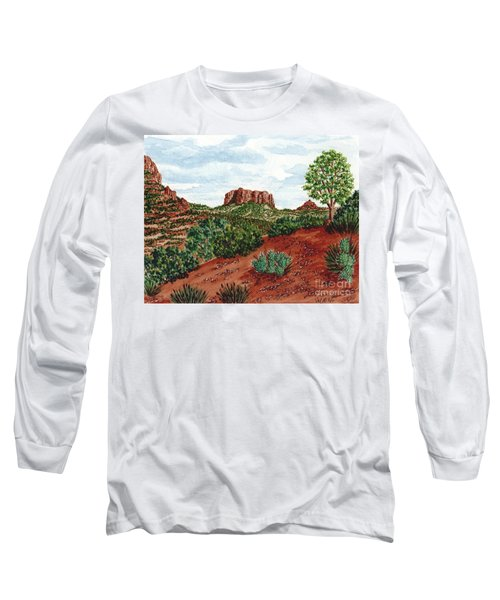Long Sleeve T-Shirt featuring the painting Sadona Two Mountains by Val Miller