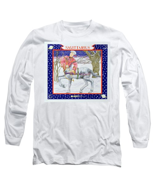 Sagittarius Wc On Paper Long Sleeve T-Shirt by Catherine Bradbury