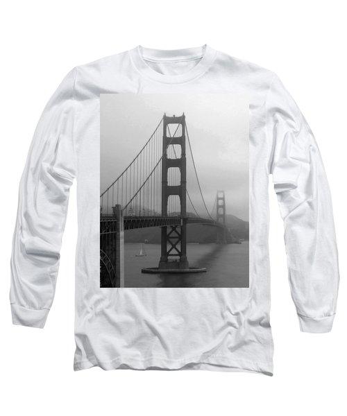 Sailboat Passing Under Golden Gate Bridge Long Sleeve T-Shirt by Connie Fox