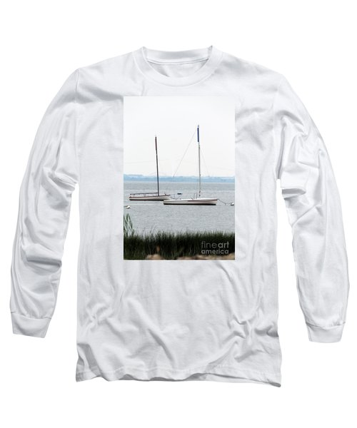 Sailboats In Battery Park Harbor Long Sleeve T-Shirt by David Jackson