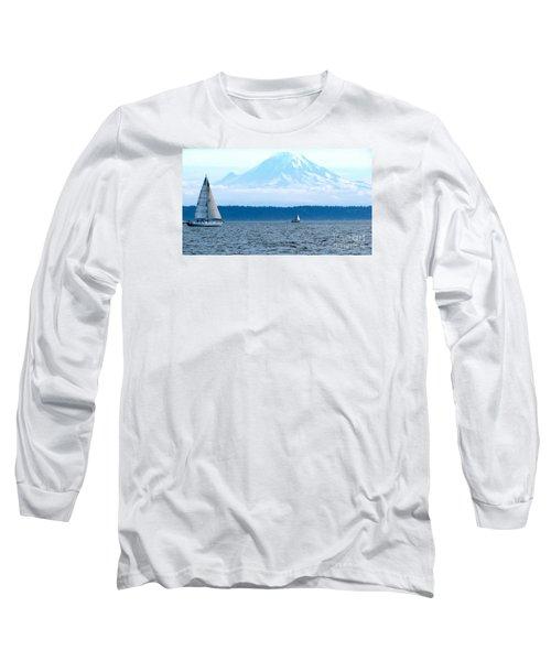 Sailing In Mt. Rainier's Shadow Long Sleeve T-Shirt