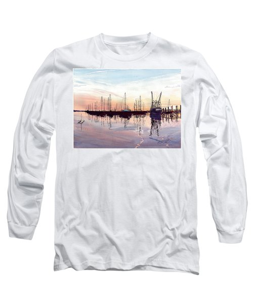 Long Sleeve T-Shirt featuring the painting Saint Marys Marina   Shadows Light And Fire by Joel Deutsch