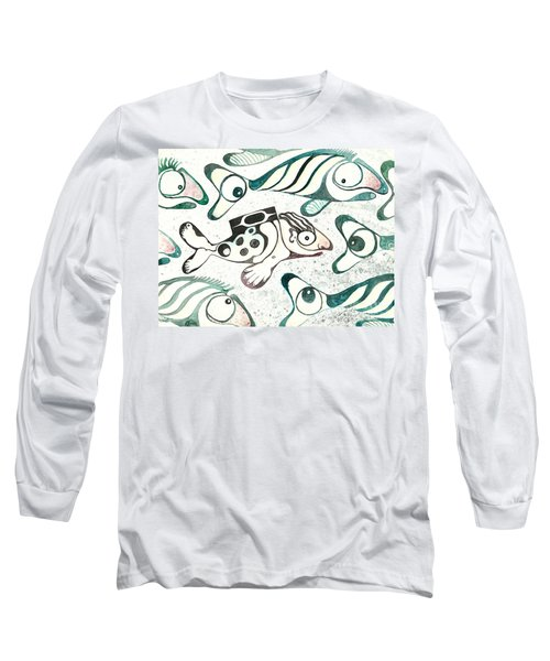Salmon Boy The Swimmer Long Sleeve T-Shirt by Melinda Dare Benfield