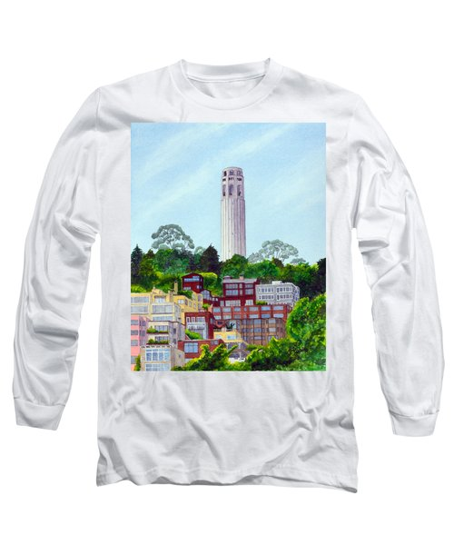San Francisco's Coit Tower Long Sleeve T-Shirt by Mike Robles