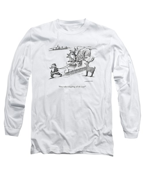 Santa Claus Pulls A Sleigh Full Of Reindeer Long Sleeve T-Shirt