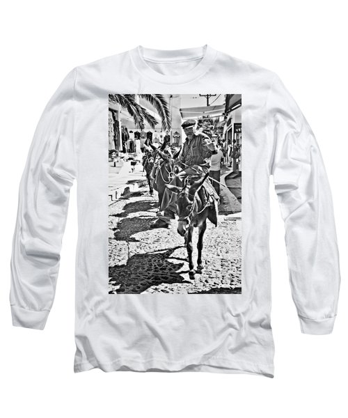 Long Sleeve T-Shirt featuring the photograph Santorini Donkey Train. by Meirion Matthias