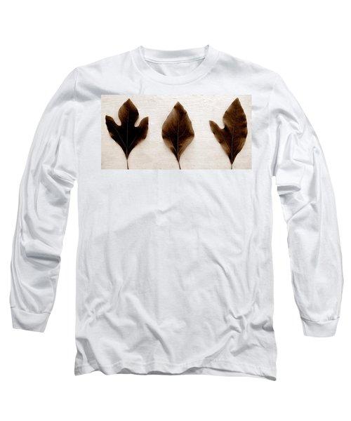 Sassafras Leaves In Sepia Long Sleeve T-Shirt