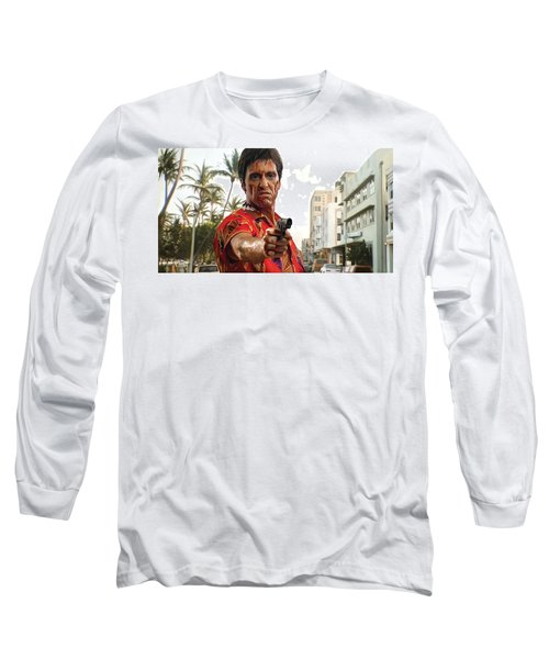 Long Sleeve T-Shirt featuring the painting Scarface Artwork 2 by Sheraz A